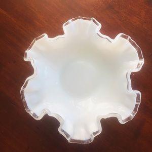 Vintage Fenton Silver crest milk glass dish